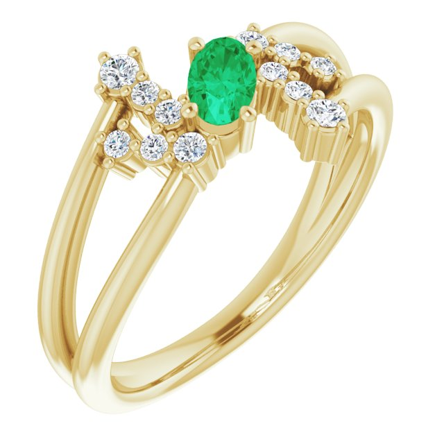 Genuine Chatham Created Emerald Ring in 14 Karat Yellow Gold Chatham Created Emerald & 1/8 Carat Diamond Bypass Ring