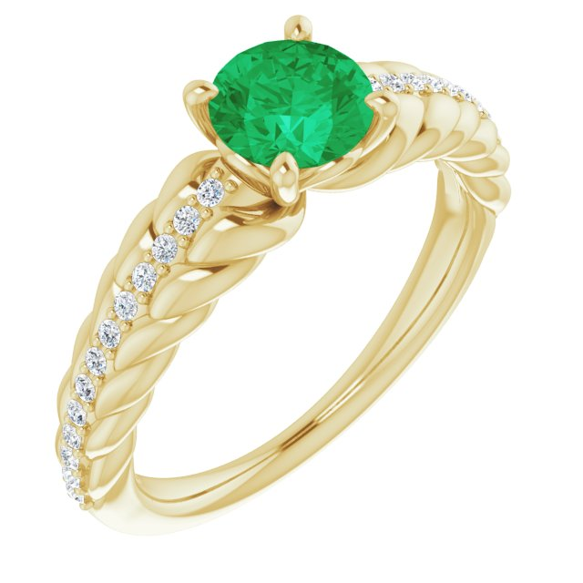Genuine Chatham Created Emerald Ring in 14 Karat Yellow Gold Chatham Created Emerald & 1/8 Carat Diamond Ring