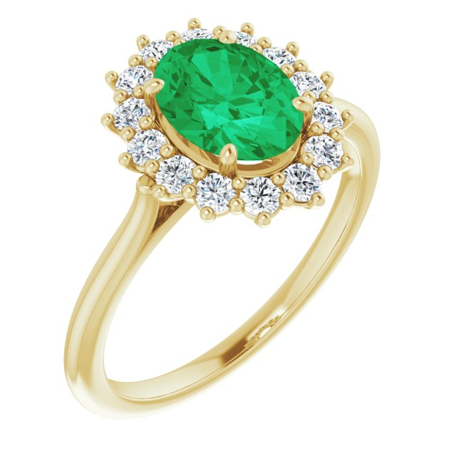 Genuine Chatham Created Emerald Ring in 14 Karat Yellow Gold Chatham Created Emerald & 3/8 Carat Diamond Ring