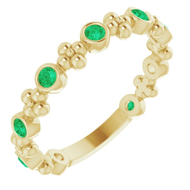 Genuine Chatham Created Emerald Ring in 14 Karat Yellow Gold Chatham Created Emerald Beaded Ring