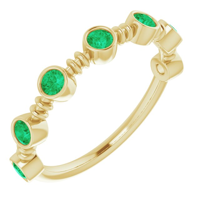 Genuine Chatham Created Emerald Ring in 14 Karat Yellow Gold Chatham Created Emerald Bezel-Set Ring