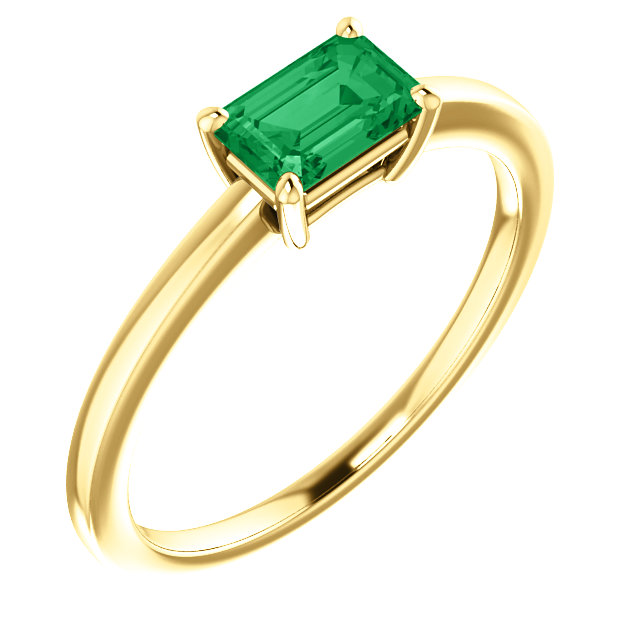 Perfect Gift Idea in 14 Karat Yellow Gold Genuine Chatham Created Created Emerald Ring