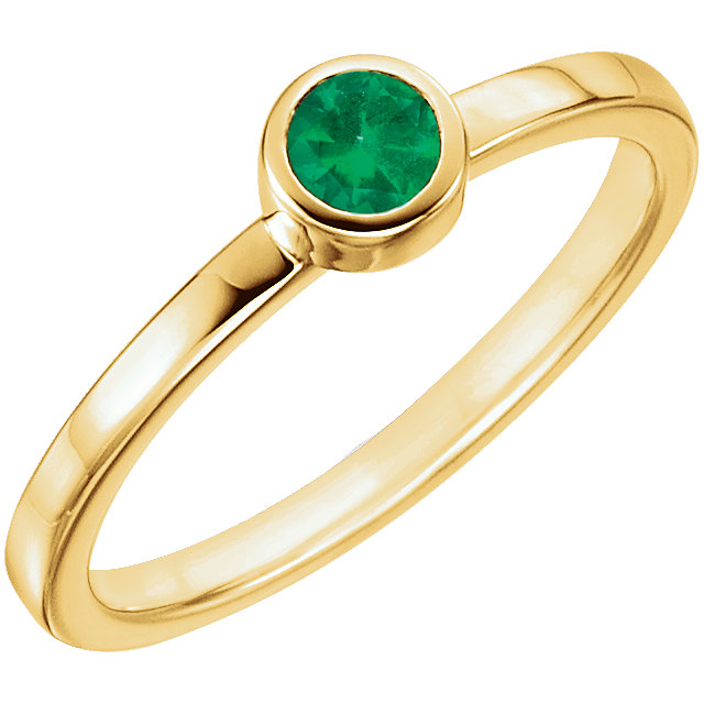 Great Gift in 14 Karat Yellow Gold Genuine Chatham Created Created Emerald Ring