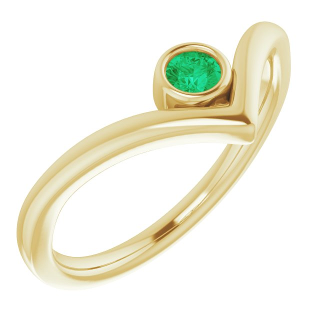 Genuine Chatham Created Emerald Ring in 14 Karat Yellow Gold Chatham Created Emerald Solitaire Bezel-Set