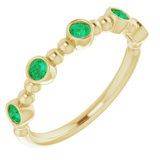Genuine Chatham Created Emerald Ring in 14 Karat Yellow Gold Chatham Created Emerald Stackable Beaded Ring
