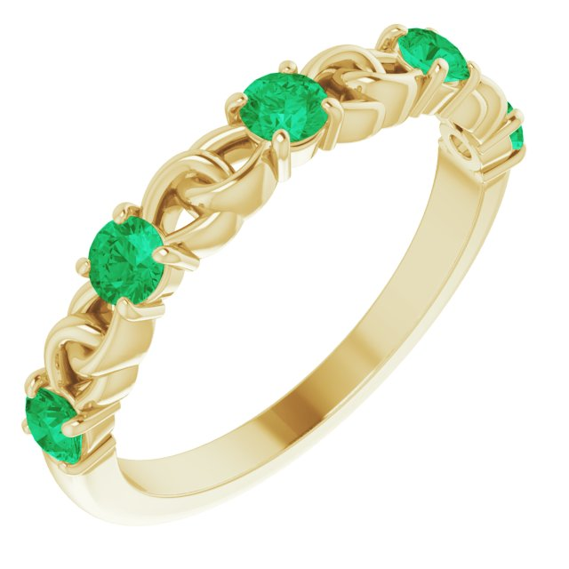 Genuine Chatham Created Emerald Ring in 14 Karat Yellow Gold Chatham Created Emerald Stackable Link Ring