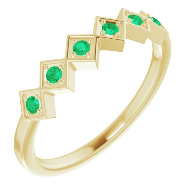 Genuine Chatham Created Emerald Ring in 14 Karat Yellow Gold Chatham Created Emerald Stackable Ring