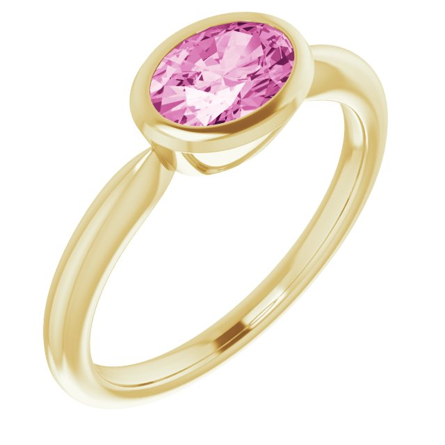 Genuine Chatham Created Sapphire Ring in 14 Karat Yellow Gold Chatham Created Pink Sapphire Ring