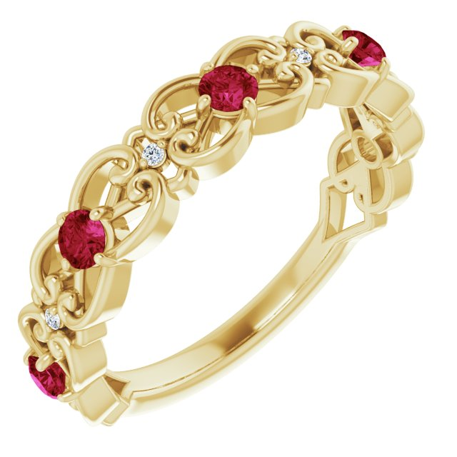 Chatham Created Ruby Ring in 14 Karat Yellow Gold Chatham Created Ruby & .02 Carat Diamond Vintage-Inspi Scroll Ring