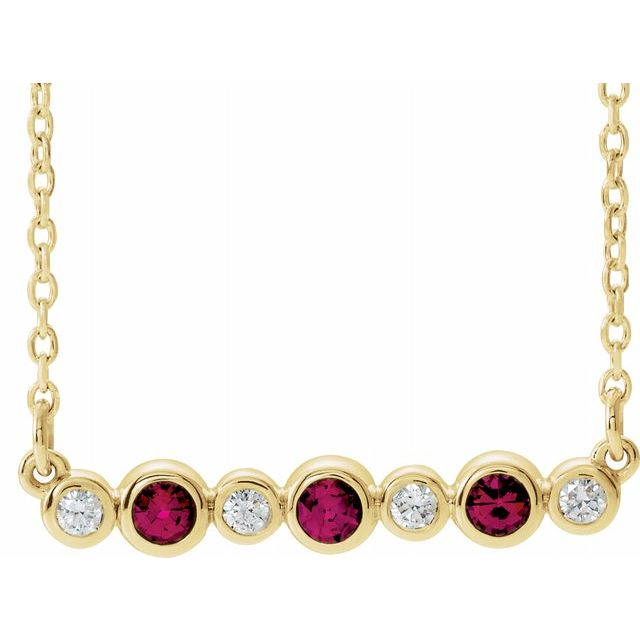 Chatham Created Ruby Necklace in 14 Karat Yellow Gold Chatham Created Ruby & .08 Carat Diamond Bezel-Set Bar 16-18