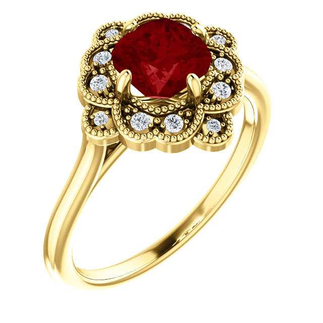 Wonderful 14 Karat Yellow Gold Genuine Chatham Created Created Ruby & 0.10 Carat Total Weight Diamond Ring