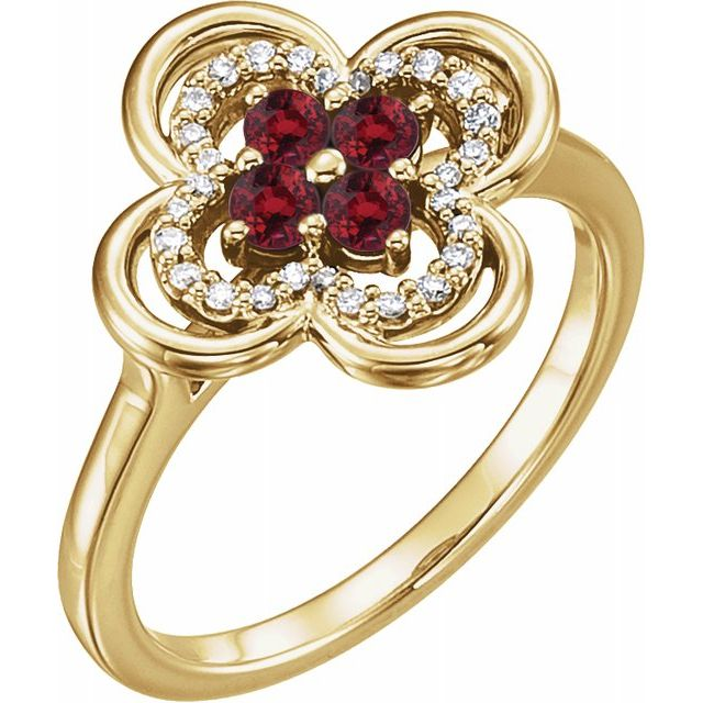 Chatham Created Ruby Ring in 14 Karat Yellow Gold Chatham Created Ruby & 1/10 Carat Diamond Ring