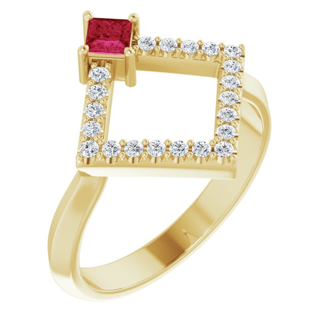 Chatham Created Ruby Ring in 14 Karat Yellow Gold Chatham Created Ruby & 1/5 Carat Diamond Geometric Ring