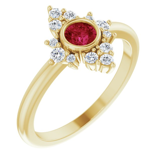 Chatham Created Ruby Ring in 14 Karat Yellow Gold Chatham Created Ruby & 1/5 Carat Diamond Ring