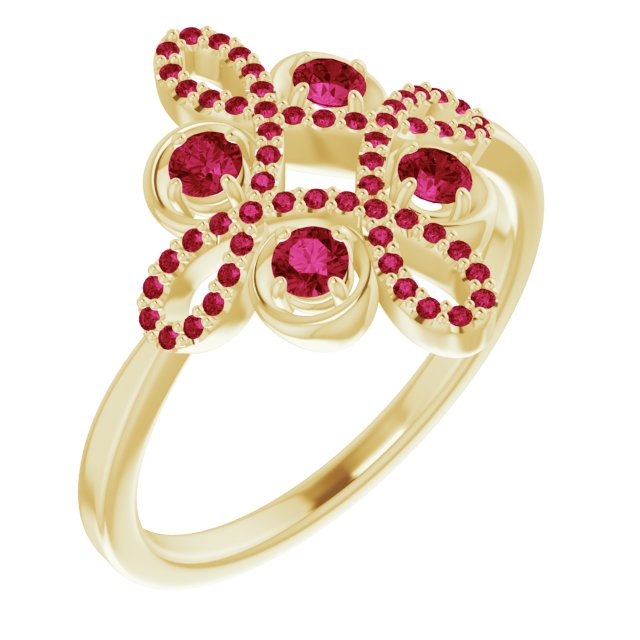 Chatham Created Ruby Ring in 14 Karat Yellow Gold Chatham Created Ruby & 1/6 Carat Diamond Clover Ring