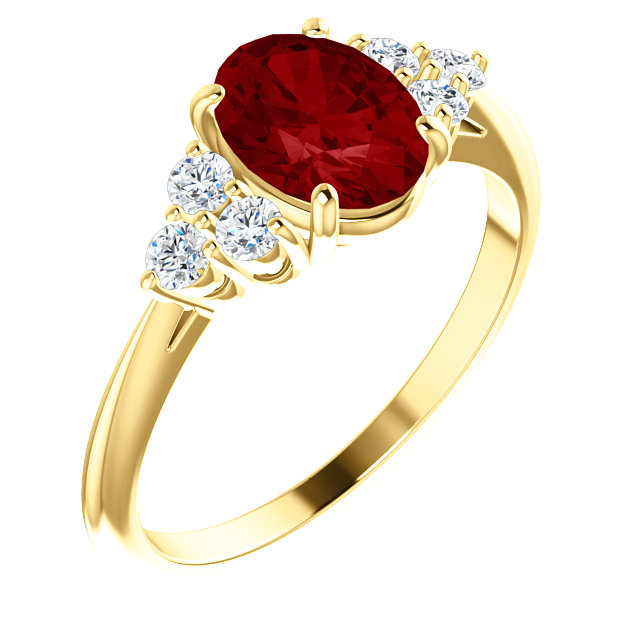 Appealing Jewelry in 14 Karat Yellow Gold Genuine Chatham Created Created Ruby & 0.17 Carat Total Weight Diamond Ring