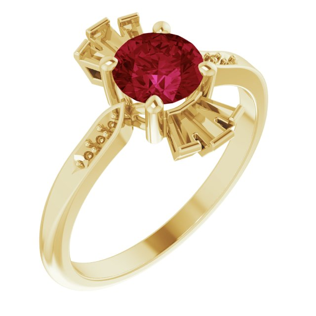 Created Ruby Ring in 14 Karat Yellow Gold Chatham Created Ruby & 1/6 Carat Diamond Ring