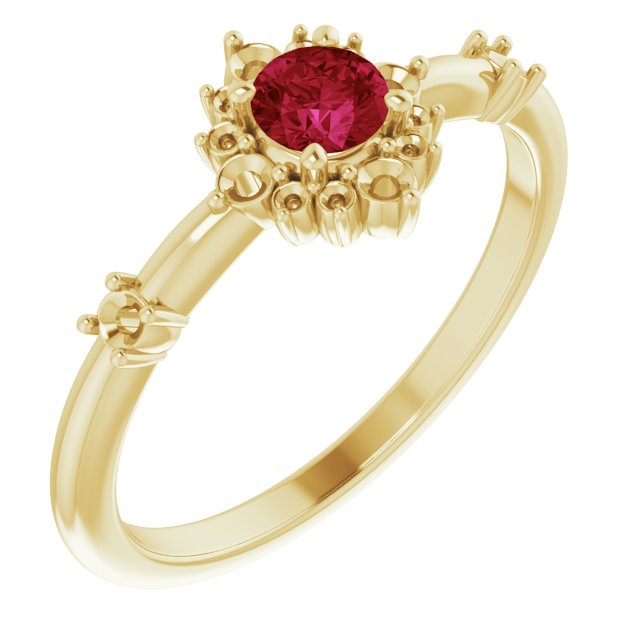 Chatham Created Ruby Ring in 14 Karat Yellow Gold Chatham Created Ruby & 1/6 Carat Diamond Ring