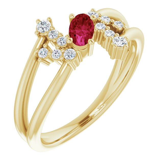 Chatham Created Ruby Ring in 14 Karat Yellow Gold Chatham Created Ruby & 1/8 Carat Diamond Bypass Ring