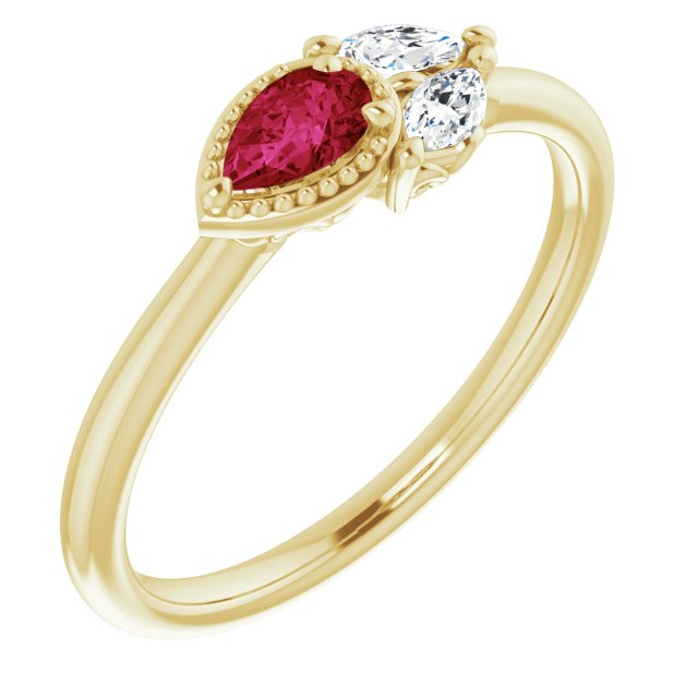Chatham Created Ruby Ring in 14 Karat Yellow Gold Chatham Created Ruby & 1/8 Carat Diamond Ring