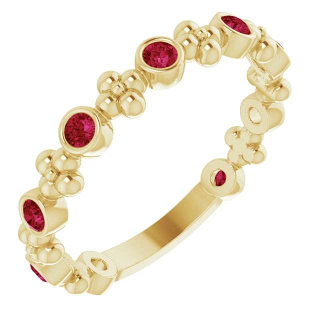 Chatham Created Ruby Ring in 14 Karat Yellow Gold Chatham Created Ruby Beaded Ring