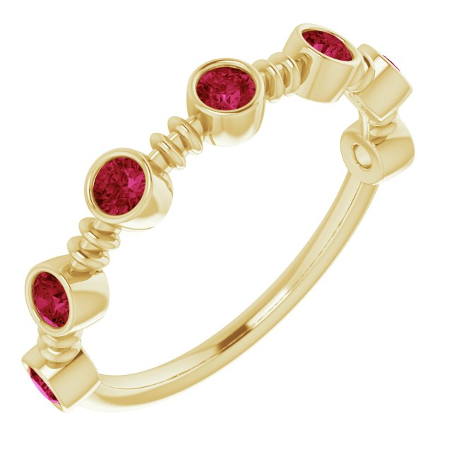 Chatham Created Ruby Ring in 14 Karat Yellow Gold Chatham Created Ruby Bezel-Set Ring