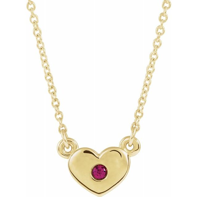 Chatham Created Ruby Necklace in 14 Karat Yellow Gold Chatham Created Ruby Heart 16