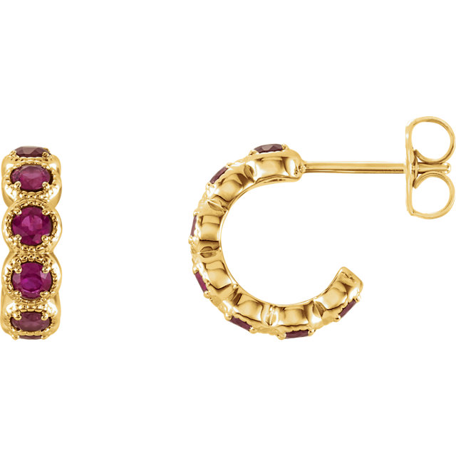Low Price 14 KT Yellow Gold Chatham Created Ruby Gemstone Hoop Earrings