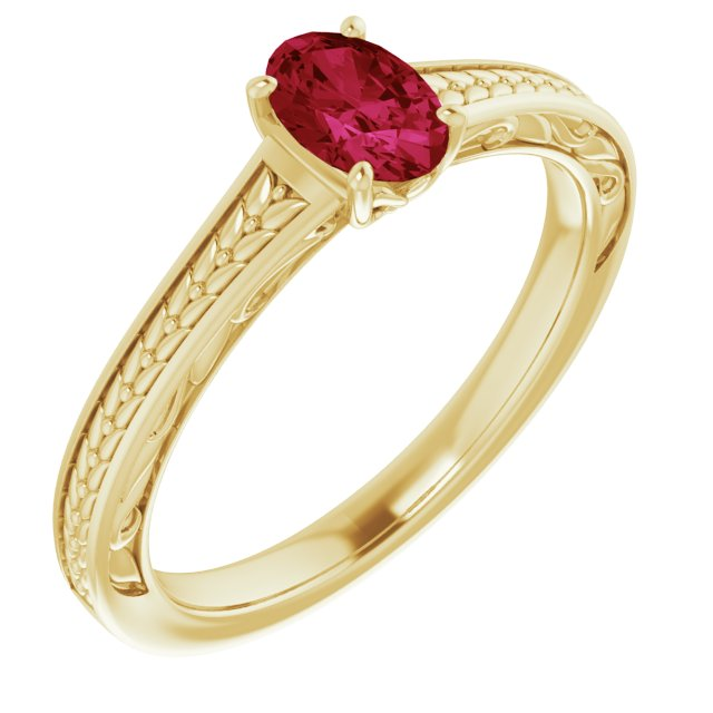 Created Ruby Ring in 14 Karat Yellow Gold Chatham Created Ruby Ring