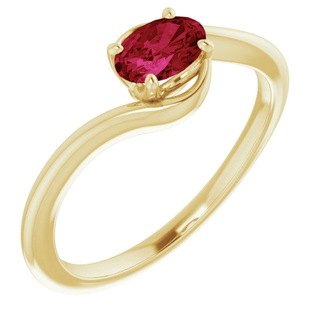 Chatham Created Ruby Ring in 14 Karat Yellow Gold Chatham Created Ruby Ring