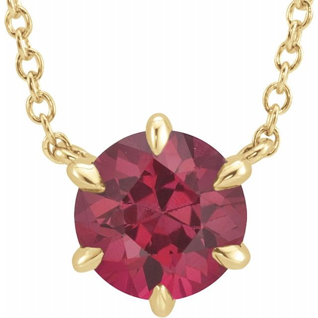 Created Ruby Necklace in 14 Karat Yellow Gold Chatham Created Ruby Solitaire 16