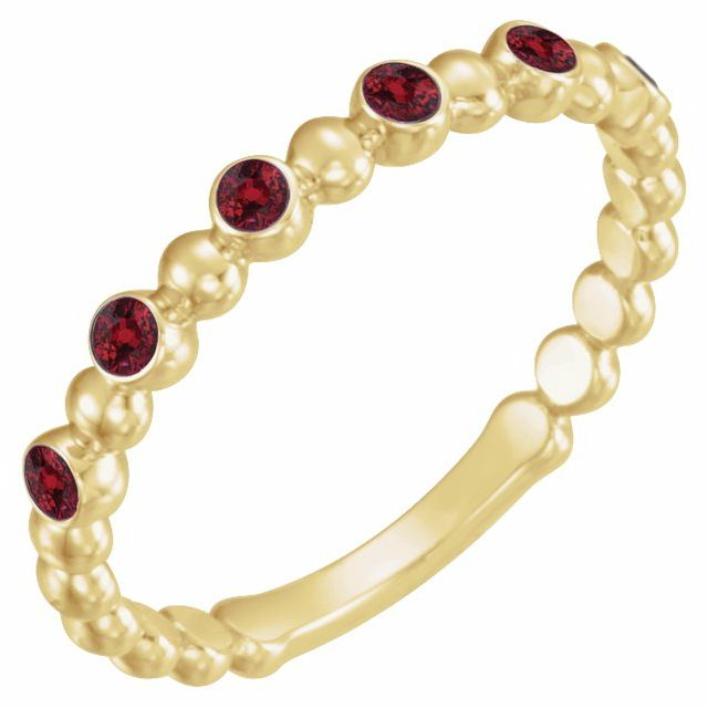 Chatham Created Ruby Ring in 14 Karat Yellow Gold Chatham Created Ruby Stackable Ring