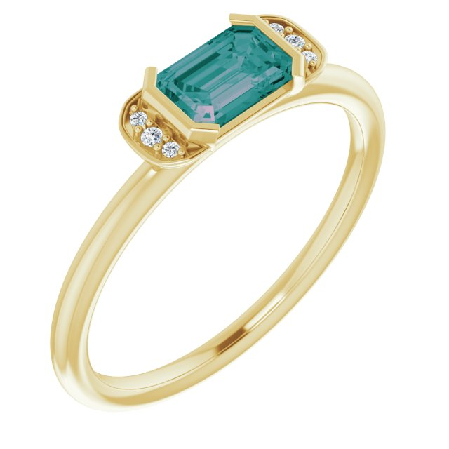 Chatham Created Alexandrite Ring in 14 Karat Yellow Gold Chatham Lab-Created Alexandrite & .02 Carat Diamond Ring