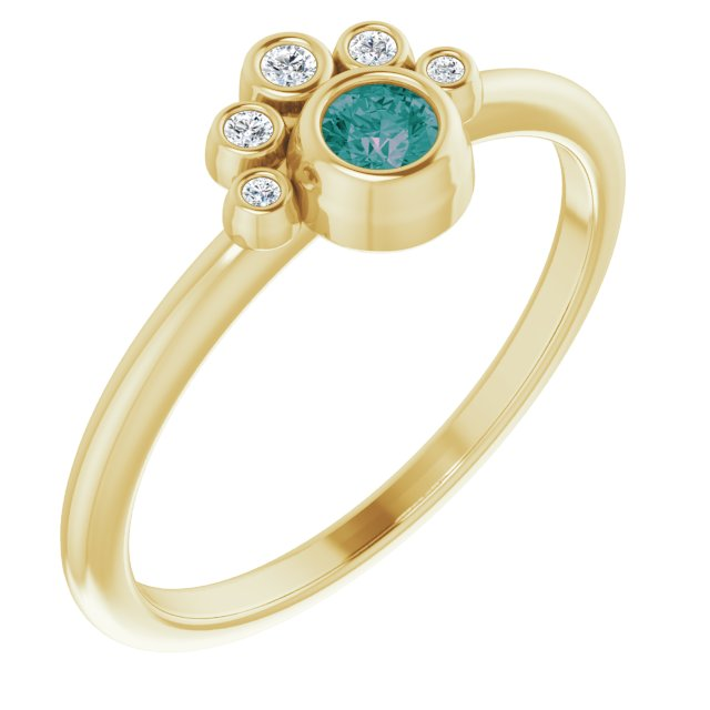 Chatham Created Alexandrite Ring in 14 Karat Yellow Gold Chatham Lab-Created Alexandrite & .04 Carat Diamond Ring