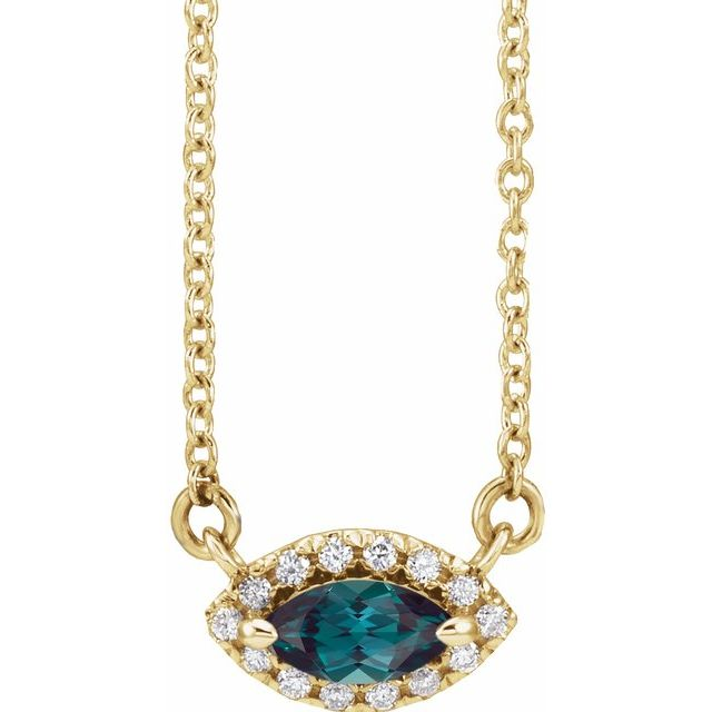 Chatham Created Alexandrite Necklace in 14 Karat Yellow Gold Chatham Lab-Created Alexandrite & .05 Carat Diamond Halo-Style 18