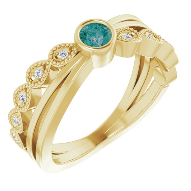 Chatham Created Alexandrite Ring in 14 Karat Yellow Gold Chatham Lab-Created Alexandrite & .05 Carat Diamond Ring