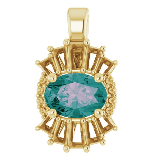 Color Change Chatham Created Alexandrite Pendant in 14 Karat Yellow Gold Chatham Lab-Created Alexandrite & 1/3 Carat Diamond Pendant