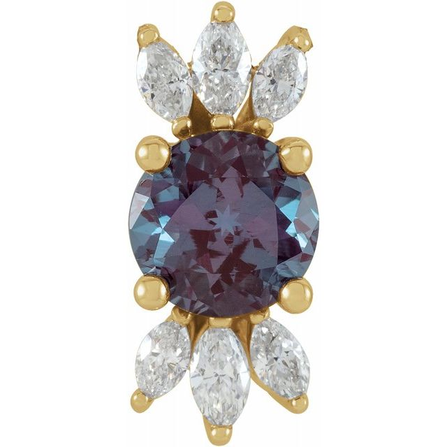 Color Change Chatham Created Alexandrite Pendant in 14 Karat Yellow Gold Chatham Lab-Created Alexandrite & 1/4 Carat Diamond 16-18
