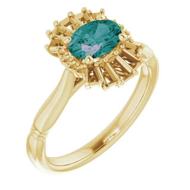 Chatham Created Alexandrite Ring in 14 Karat Yellow Gold Chatham Lab-Created Alexandrite & 1/4 Carat Diamond Ring