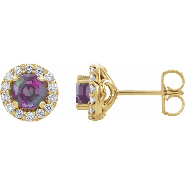 Genuine Alexandrite Earrings in 14 Karat Yellow Gold Chatham Lab-Created Alexandrite & 1/4 Diamond Earrings