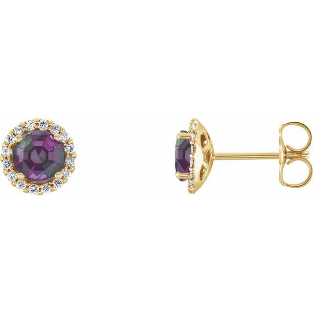 Genuine Chatham Created Alexandrite Earrings in 14 Karat Yellow Gold Chatham Lab-Created Alexandrite & 1/6 Carat Diamond Earrings