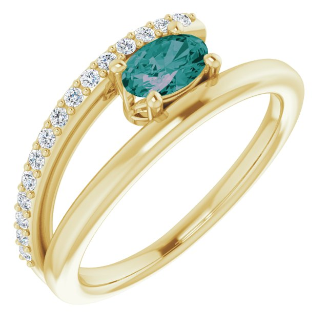 Chatham Created Alexandrite Ring in 14 Karat Yellow Gold Chatham Lab-Created Alexandrite & 1/8 Carat Diamond Ring