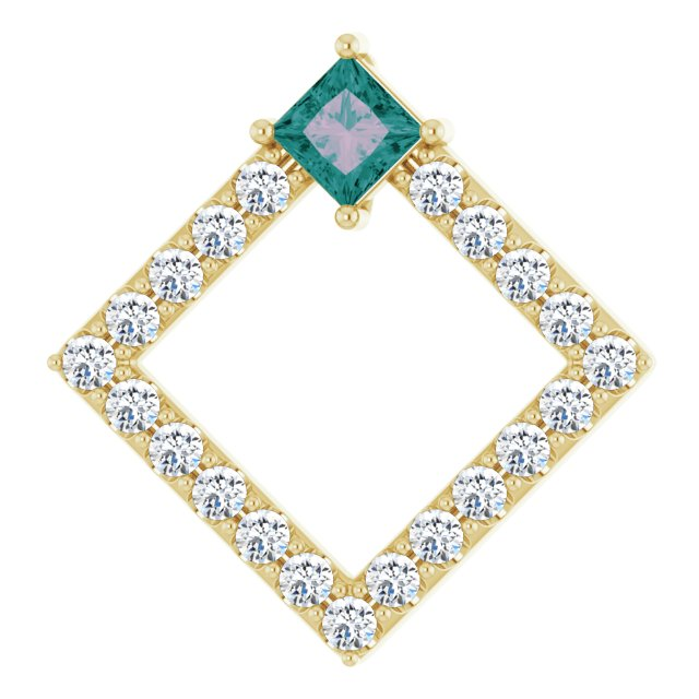 Color Change Chatham Created Alexandrite Pendant in 14 Karat Yellow Gold Chatham Lab-Created Alexandrite & 3/8 Carat Diamond Pendant