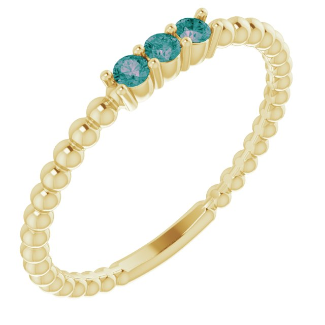 Chatham Created Alexandrite Ring in 14 Karat Yellow Gold ChathamLab-Created Alexandrite Beaded Ring