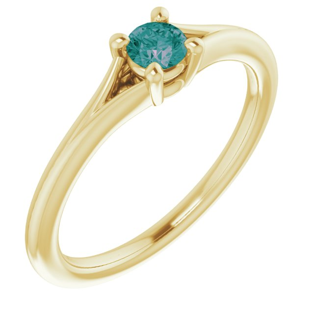 Chatham Created Alexandrite Ring in 14 Karat Yellow Gold Chatham Lab-Created Alexandrite Youth Solitaire Ring