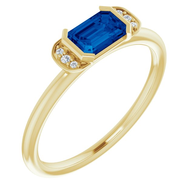 Genuine Chatham Created Sapphire Ring in 14 Karat Yellow Gold Chatham Lab-Created Genuine Sapphire & .02 Carat Diamond Ring