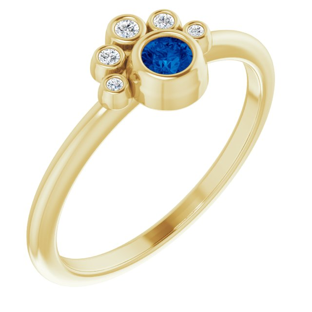 Genuine Chatham Created Sapphire Ring in 14 Karat Yellow Gold Chatham Lab-Created Genuine Sapphire & .04 Carat Diamond Ring