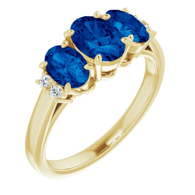 Genuine Created Sapphire Ring in 14 Karat Yellow Gold Chatham Lab-Created Genuine Sapphire & .05 Carat Diamond Ring