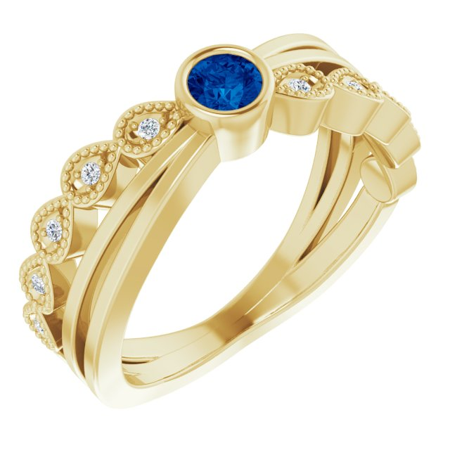 Genuine Chatham Created Sapphire Ring in 14 Karat Yellow Gold Chatham Lab-Created Genuine Sapphire & .05 Carat Diamond Ring