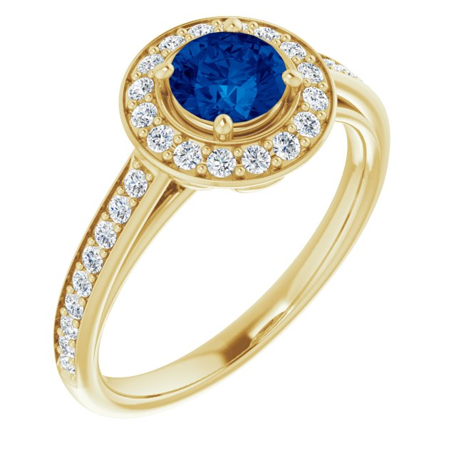 Genuine Chatham Created Sapphire Ring in 14 Karat Yellow Gold Chatham Lab-Created Genuine Sapphire & 1/3 Carat Diamond Ring